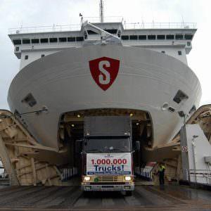 Stena Line Gothnburg-Kiel- 1 million trucks in 1995 Photo: Behling