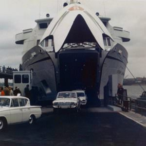 Germanica I in Kiel with cars