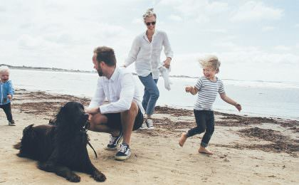 Family at the beach in Scandinavia